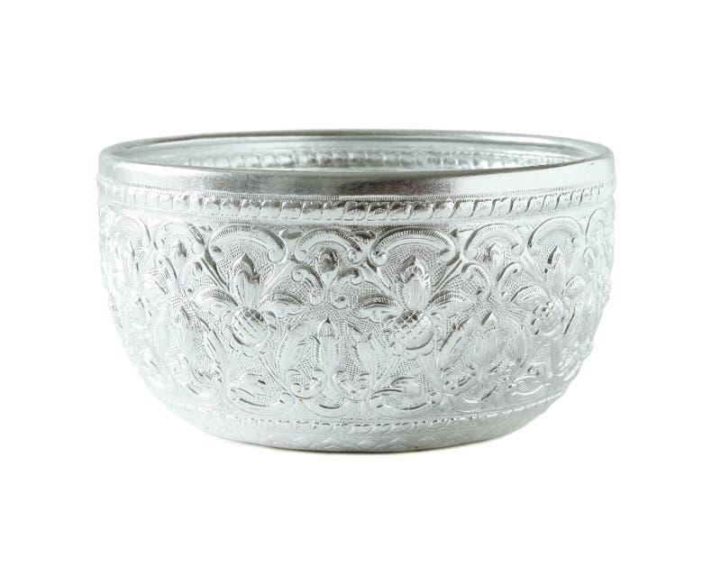 Zilveren die kom op wit wordt geïsoleerd royalty-vrije stock fotografie