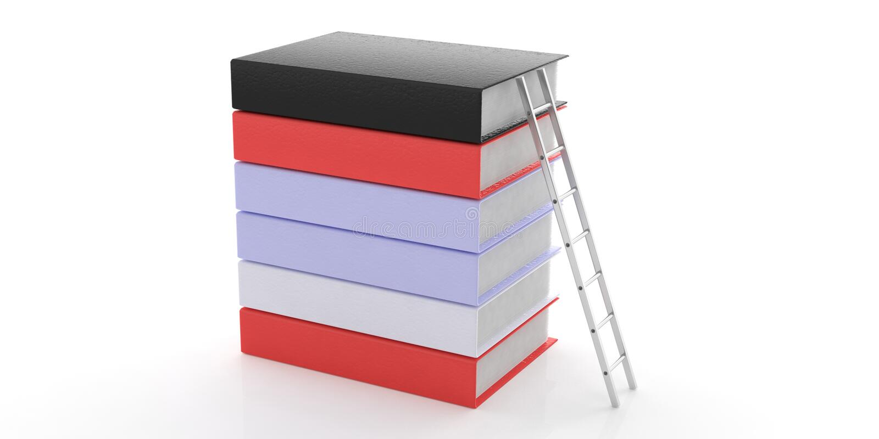 Zilveren die muurladder tegen een boekenstapel op witte achtergrond wordt geïsoleerd 3D Illustratie vector illustratie