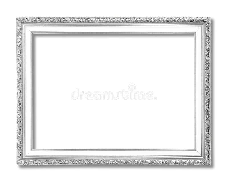 Zilveren die omlijsting op wit wordt geïsoleerd royalty-vrije stock foto's