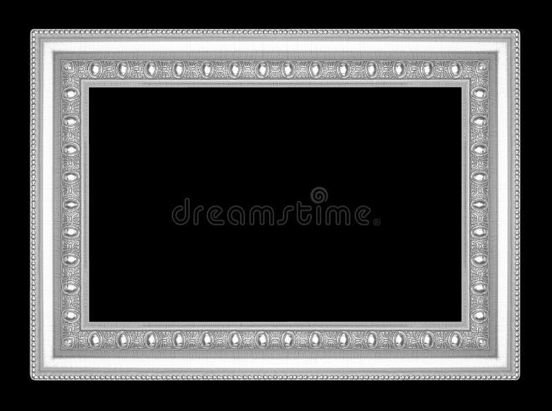 Zilveren die omlijsting op zwarte achtergrond wordt geïsoleerd royalty-vrije stock foto