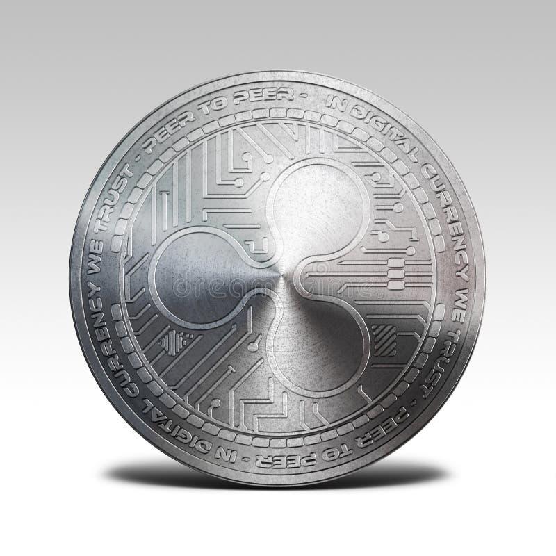 Zilveren die rimpelingsmuntstuk bij het witte 3d teruggeven wordt geïsoleerd als achtergrond stock foto