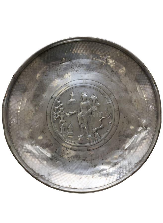 Zilveren die Roman pateratio met inheemse godin Bandua Araugelensis wordt verfraaid stock fotografie