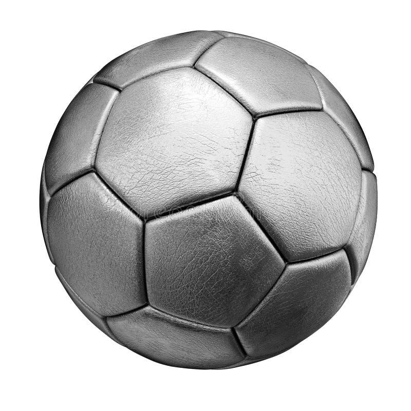 zilveren die voetbalbal op witte achtergrond wordt geïsoleerdw stock foto's