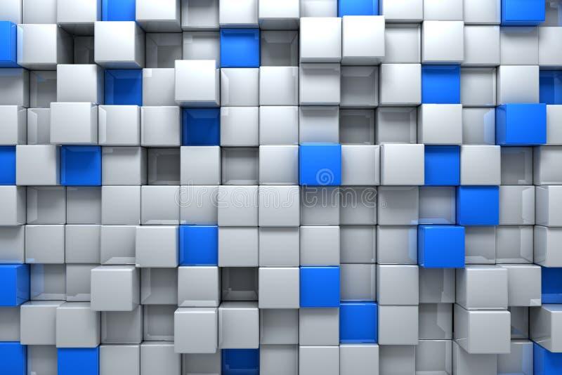 Zilveren en blauwe dozen stock illustratie