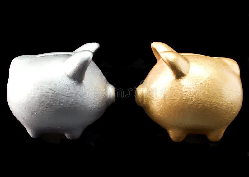 Zilveren en Gouden Banken royalty-vrije stock afbeelding