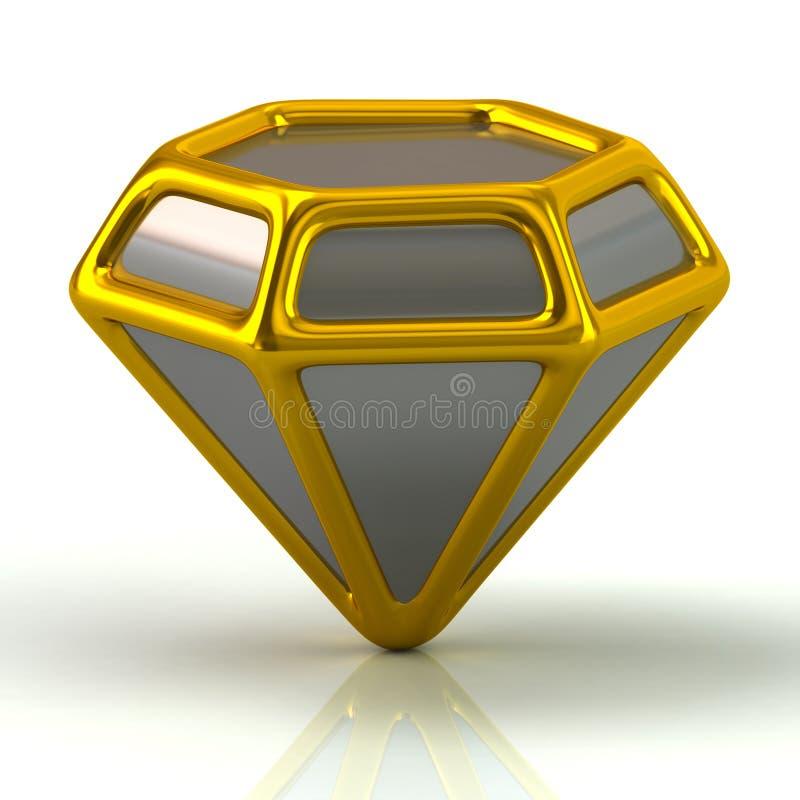 Zilveren en gouden diamantpictogram stock illustratie