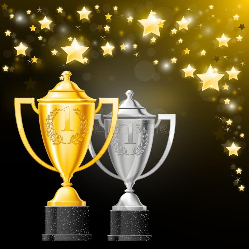 Zilveren en gouden koppen met laurels - toekenning vector illustratie