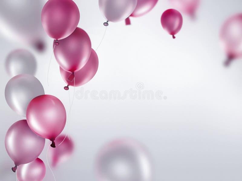 Zilveren en roze ballons stock illustratie