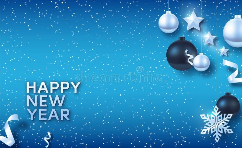 Zilveren en zwarte Kerstmisballen met Zilveren sterren en grote Zilveren sneeuwvlok stock illustratie