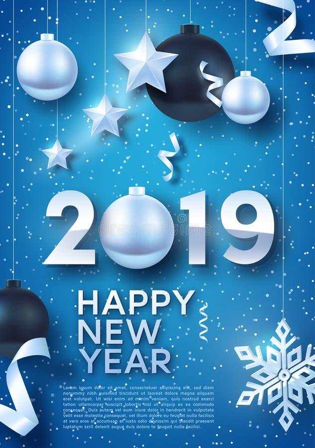 Zilveren en zwarte Kerstmisballen met Zilveren sterren en grote Zilveren sneeuwvlok Illustratie van gelukkig nieuw jaar 2019 vector illustratie