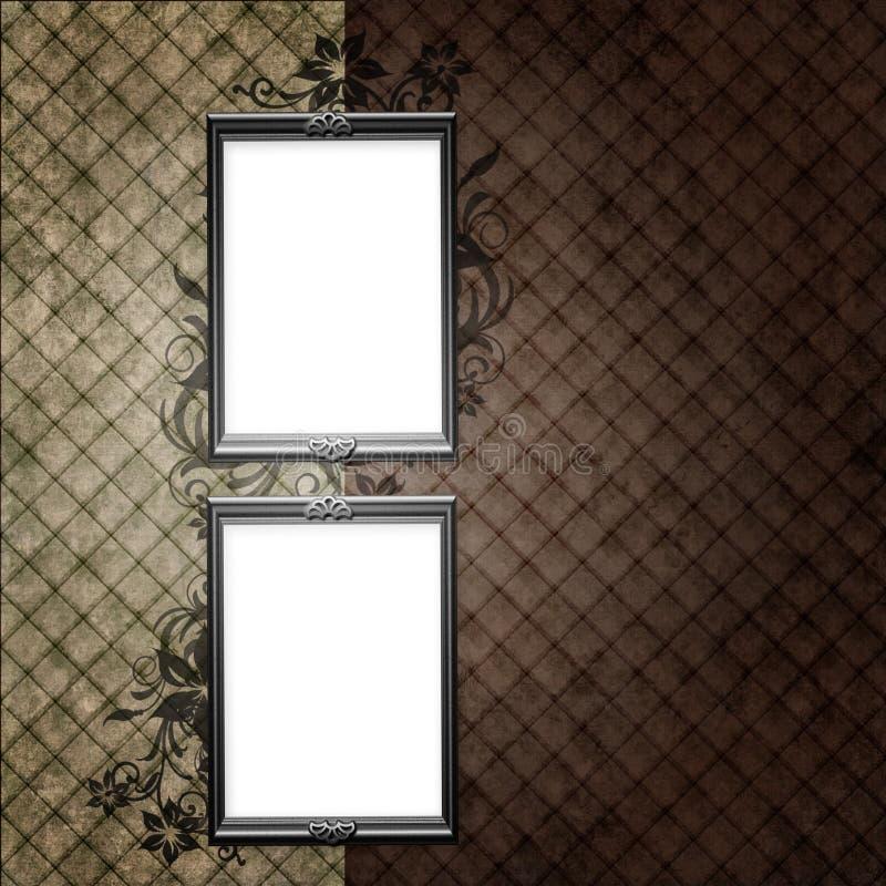 Zilveren frames over uitstekend behang stock illustratie