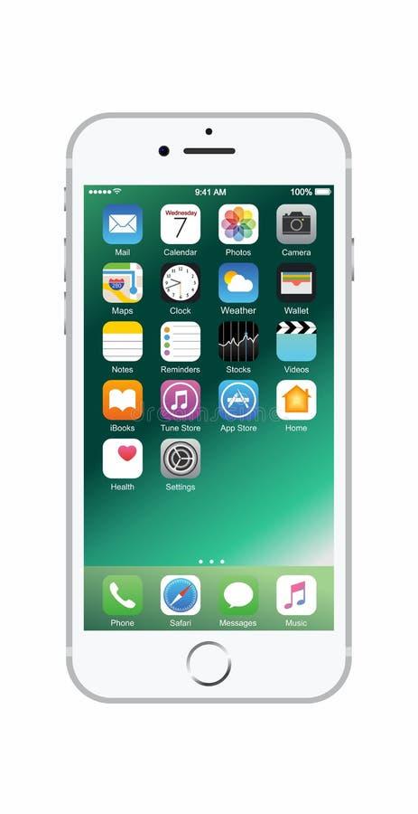 Zilveren-gekleurde iPhone 7 royalty-vrije stock afbeelding