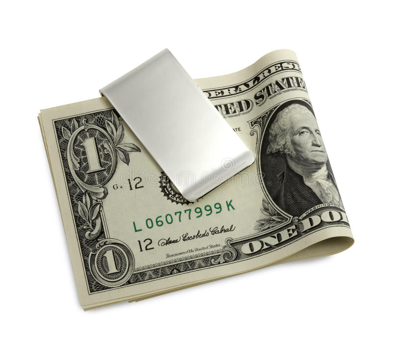 Zilveren geldklem stock afbeelding