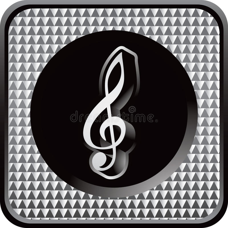 Zilveren geruit Webpictogram met muzieknota vector illustratie