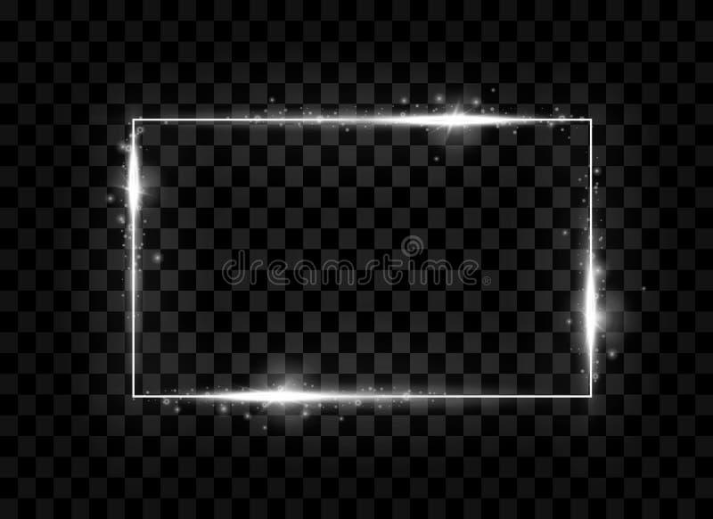Zilveren glanzende vierkante banner Fonkeling, het gloeien neonlichteffect Vector illustratie vector illustratie