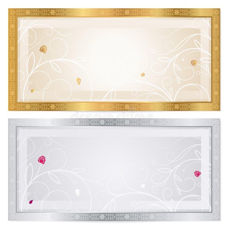 Zilveren/Gouden bonmalplaatje met bloemenpatroon royalty-vrije illustratie