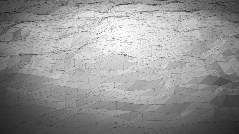 Zilveren grijze abstracte veelhoekige achtergrond met wireframelijnen royalty-vrije stock foto