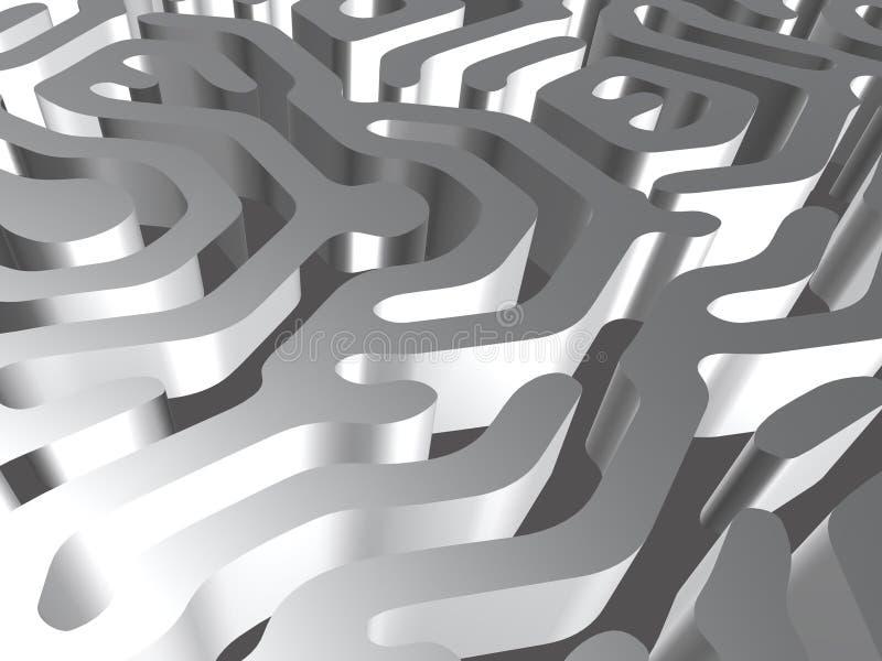 Zilveren/grijze labyrint en hemel vector illustratie