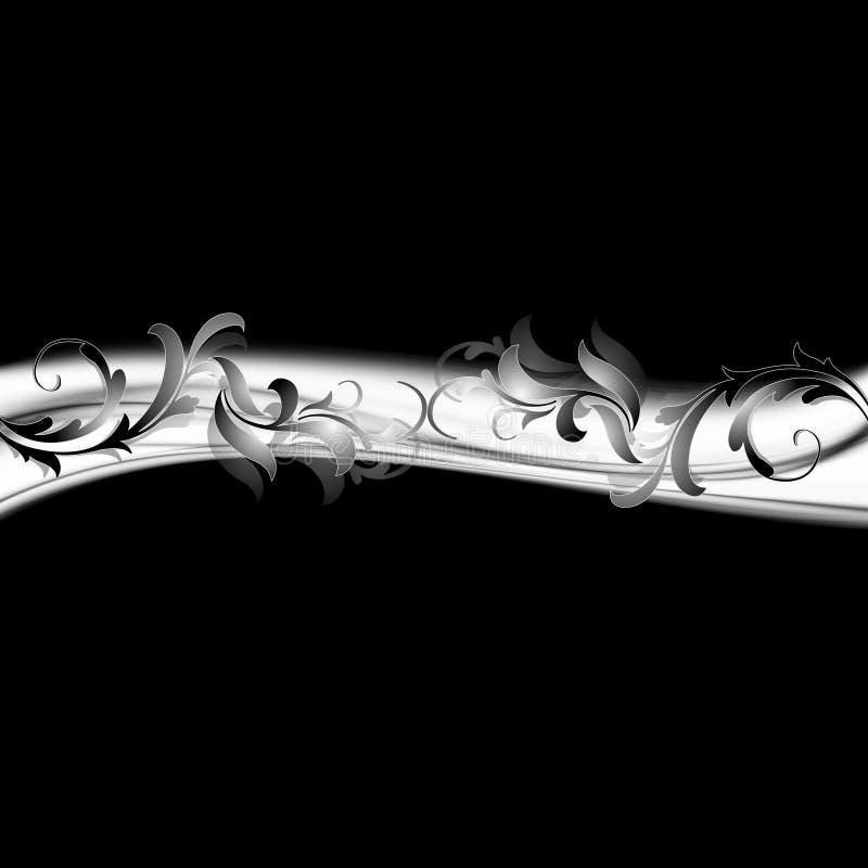 Zilveren grijze wervelingen op zwarte achtergrond vector illustratie