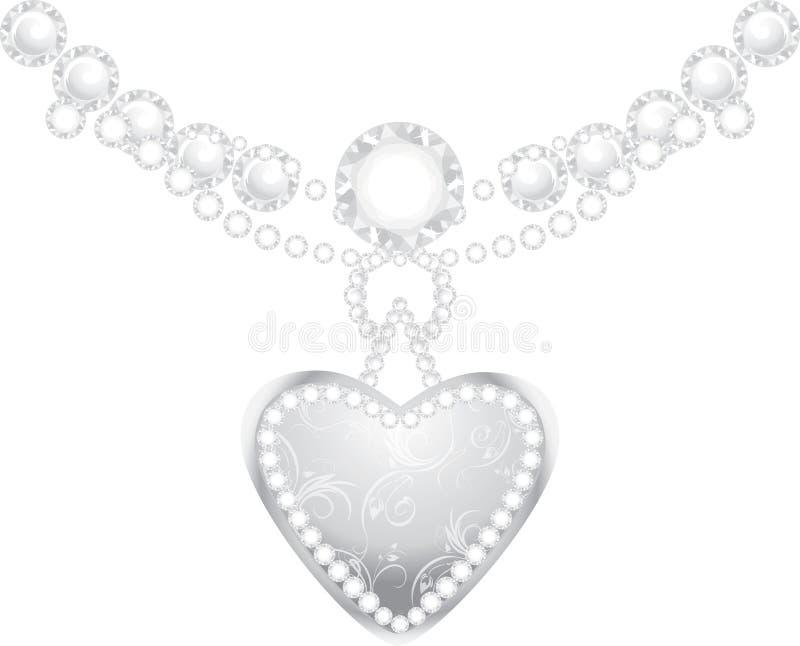 Zilveren hart met diamanten en strasses vector illustratie