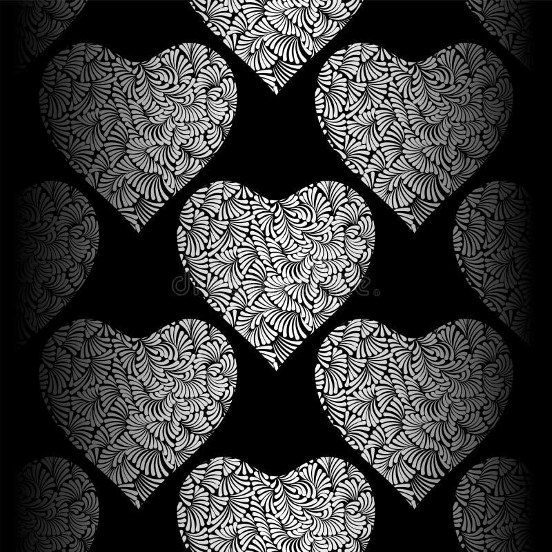 Zilveren harten naadloos vectorpatroon De glanzende en zwarte achtergrond van de Valentijnskaartendag Krabbelornament Textuur van royalty-vrije illustratie