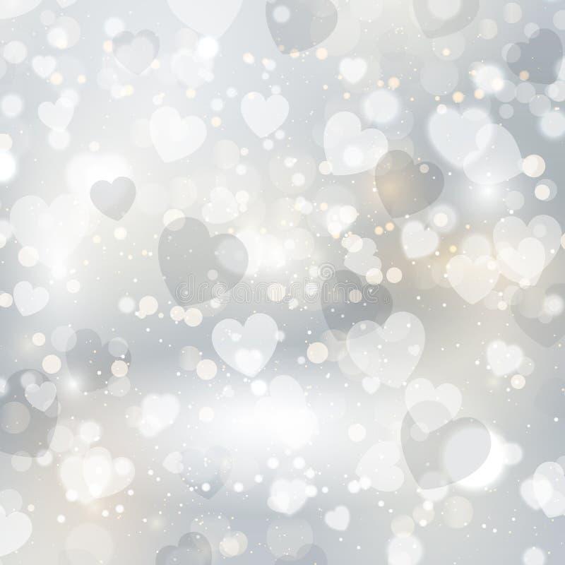 Zilveren hartenachtergrond vector illustratie
