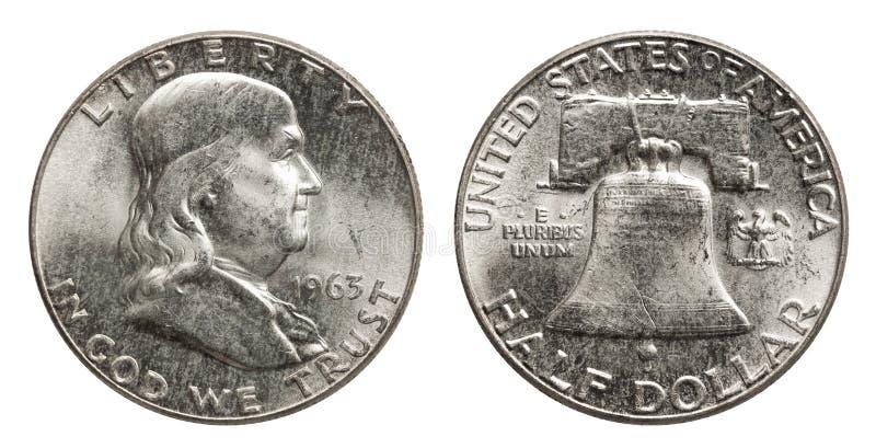 Zilveren het muntstuk halve dollar Franklin 1963 van de V.S. royalty-vrije stock afbeeldingen