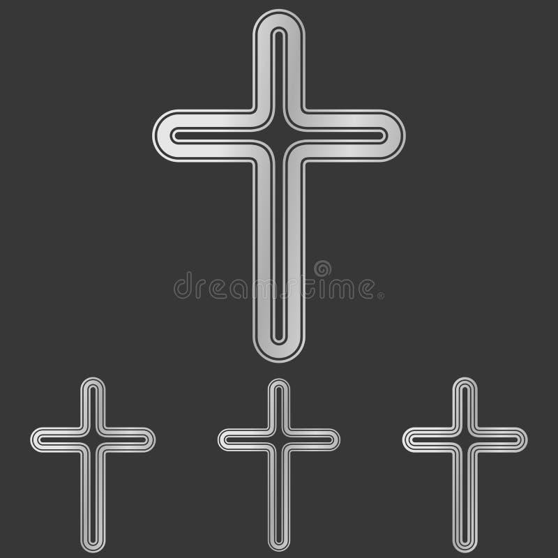 Zilveren het ontwerpreeks van het lijn dwarsembleem stock illustratie