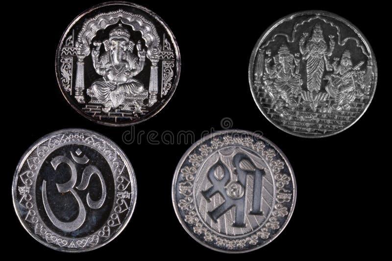 Zilveren Hindoese Muntstukken royalty-vrije stock afbeeldingen