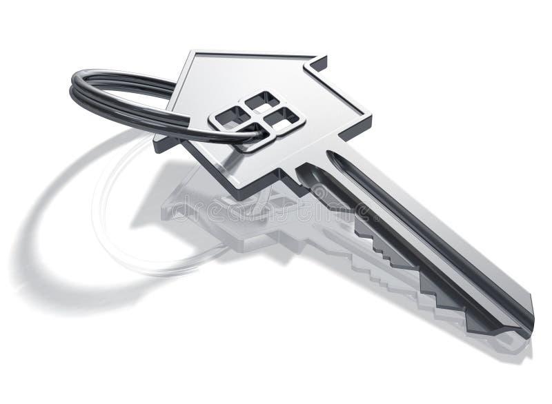 Zilveren huis-vorm sleutel stock illustratie