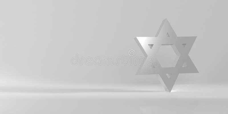 Zilveren Joodse ster van David stock illustratie