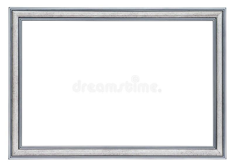 Zilveren kader met zwarte grenzen buiten en binnen, geïsoleerd royalty-vrije stock fotografie