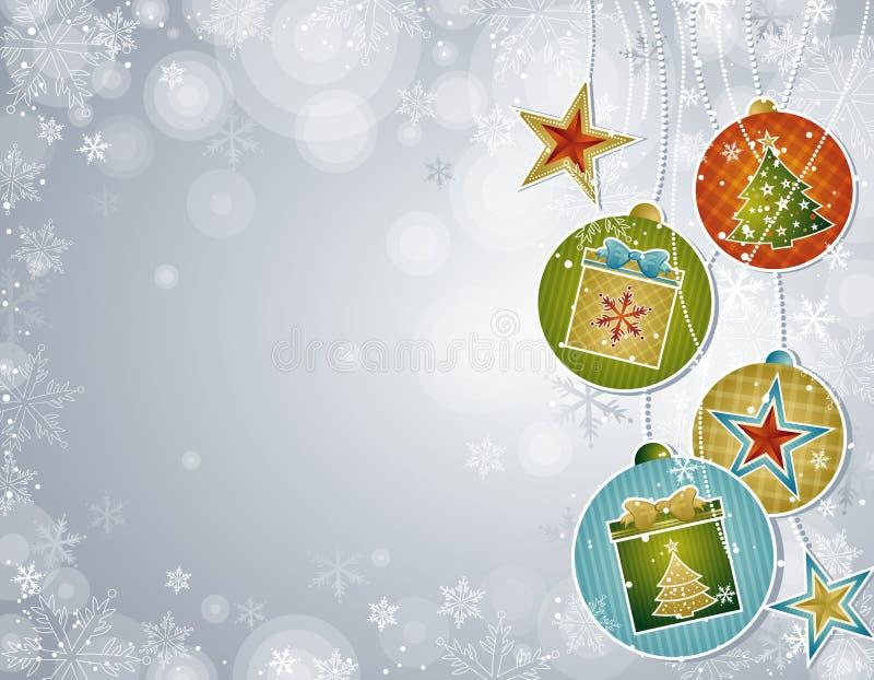 Zilveren Kerstmisachtergrond,   royalty-vrije illustratie