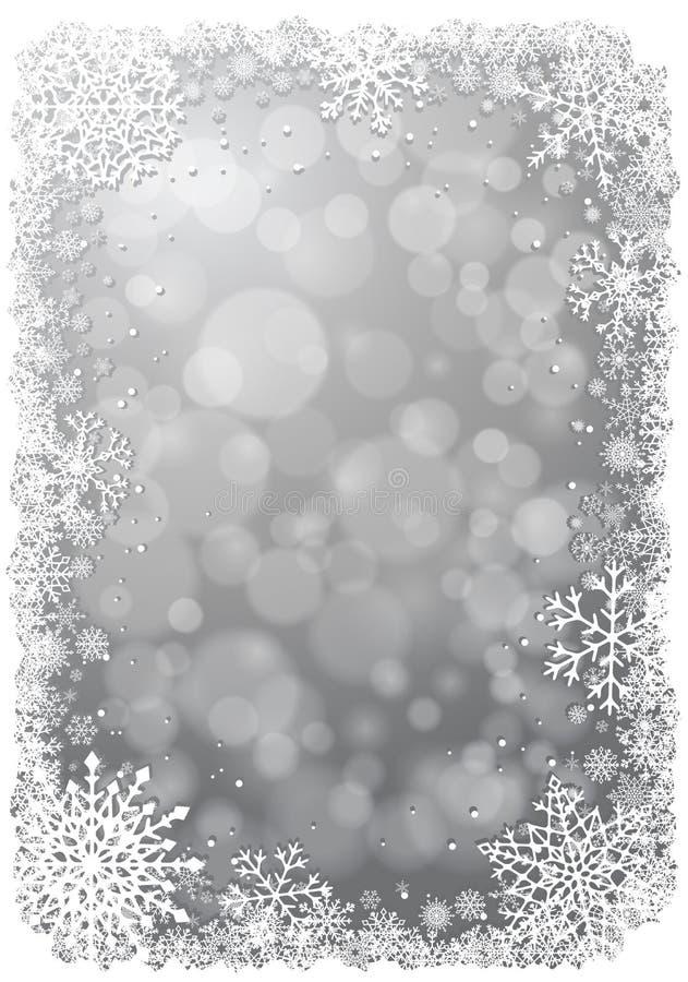 Zilveren Kerstmisachtergrond met sneeuwvlokken royalty-vrije illustratie