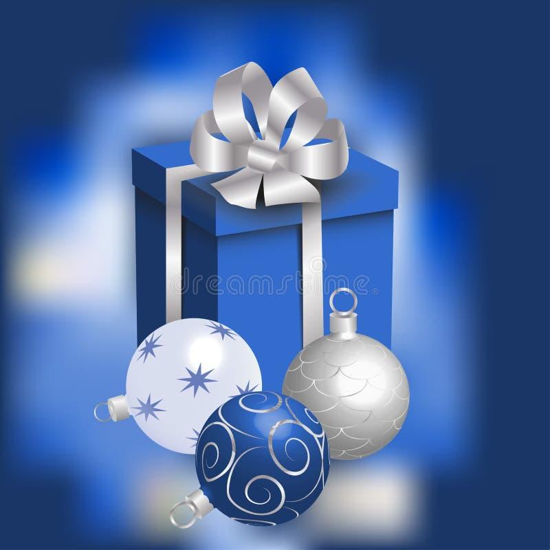 Zilveren Kerstmisballen en een gift stock illustratie