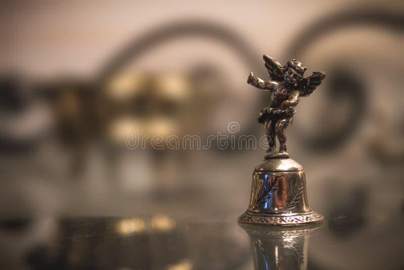 Zilveren Klok met Angel Macro stock afbeelding