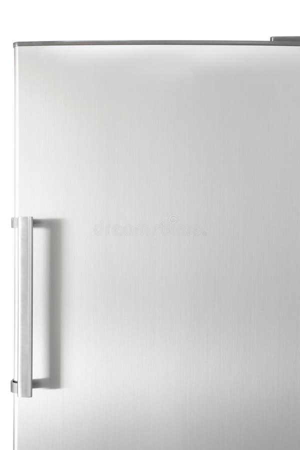 Zilveren koelkastdeur met handvat, met vrije ruimte voor tekst stock foto's