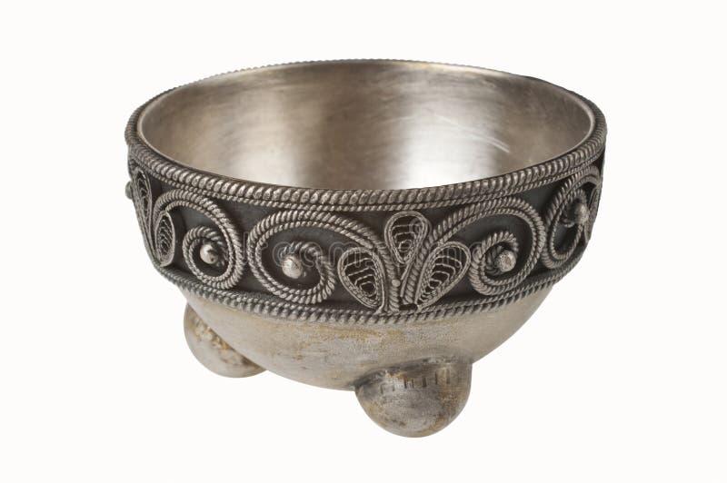 Zilveren kom royalty-vrije stock afbeelding