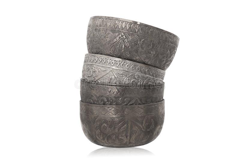 Zilveren kommen stock afbeelding