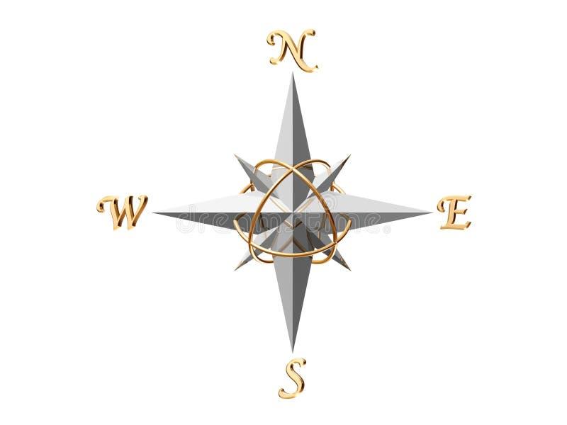 Zilveren Kompas stock illustratie