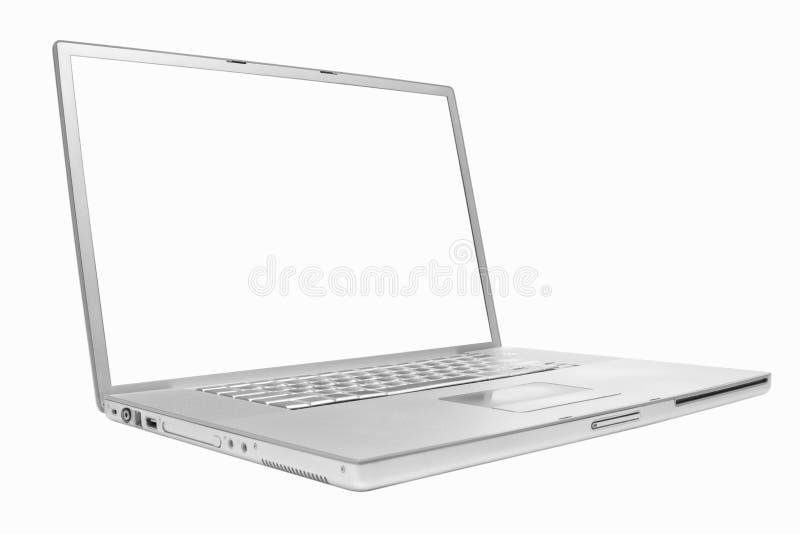 Zilveren laptop 17 duim stock afbeeldingen