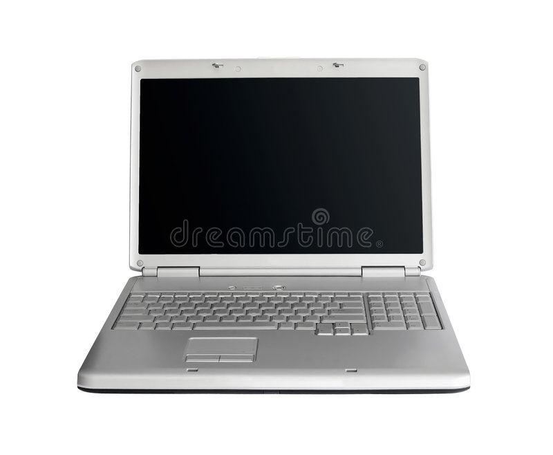 Zilveren laptop royalty-vrije stock foto