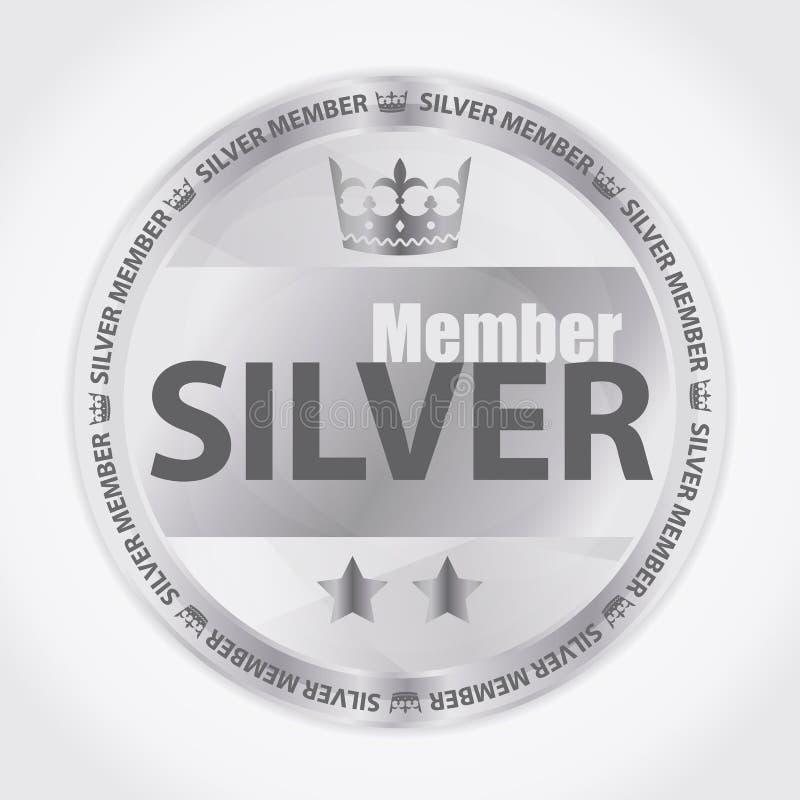 Zilveren lidkenteken met koninklijke kroon en twee sterren vector illustratie