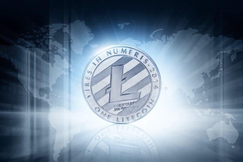 Zilveren litecoinmuntstuk op technologieachtergrond stock foto's