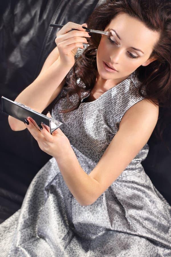 Zilveren make-up royalty-vrije stock fotografie