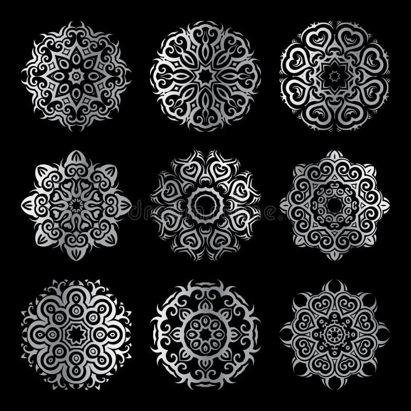Zilveren mandalareeks vector illustratie