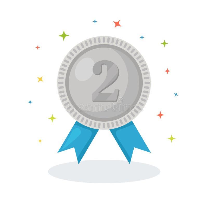 Zilveren medaille met blauw lint voor tweede plaats Trofee, winnaartoekenning op witte achtergrond wordt ge?soleerd die Kentekenp vector illustratie