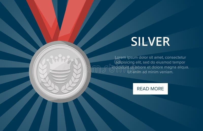 Zilveren medaille met lint op blauwe achtergrond royalty-vrije illustratie