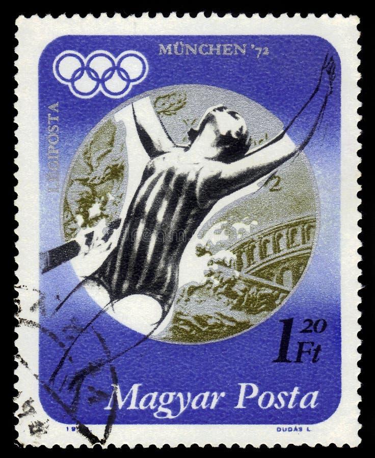 Zilveren medaillewinnaar Andrea Gyarmati, Hongaarse zwemmer, de Zomerolympics 1972, München royalty-vrije stock fotografie