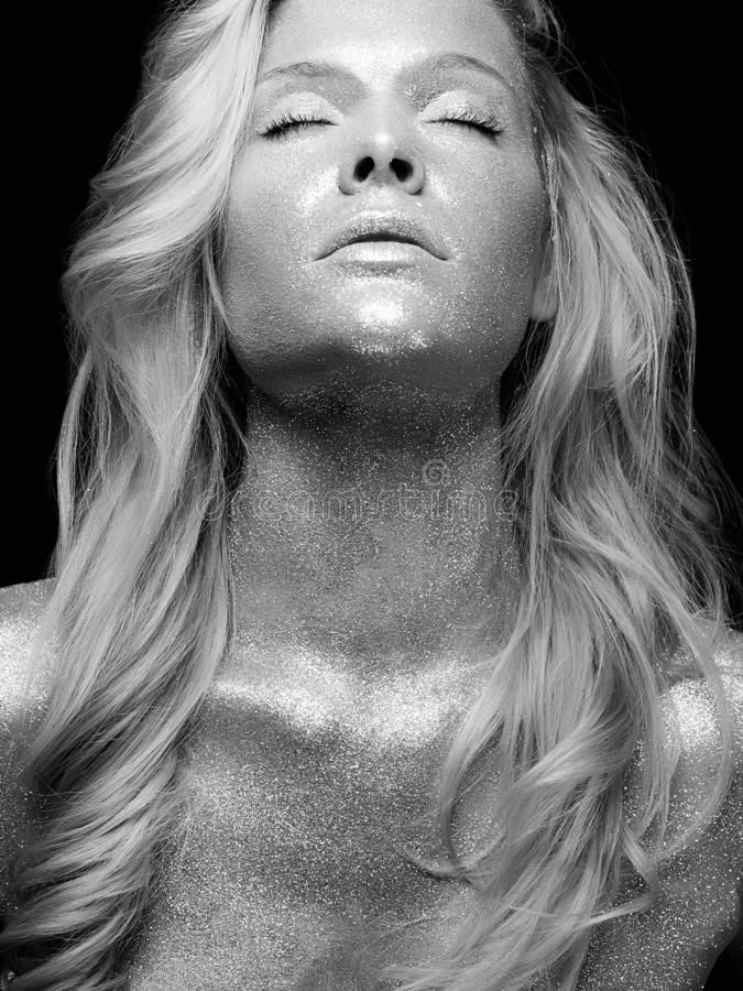 Zilveren meisje Mooie jonge Vrouw met Fonkelingen stock afbeelding